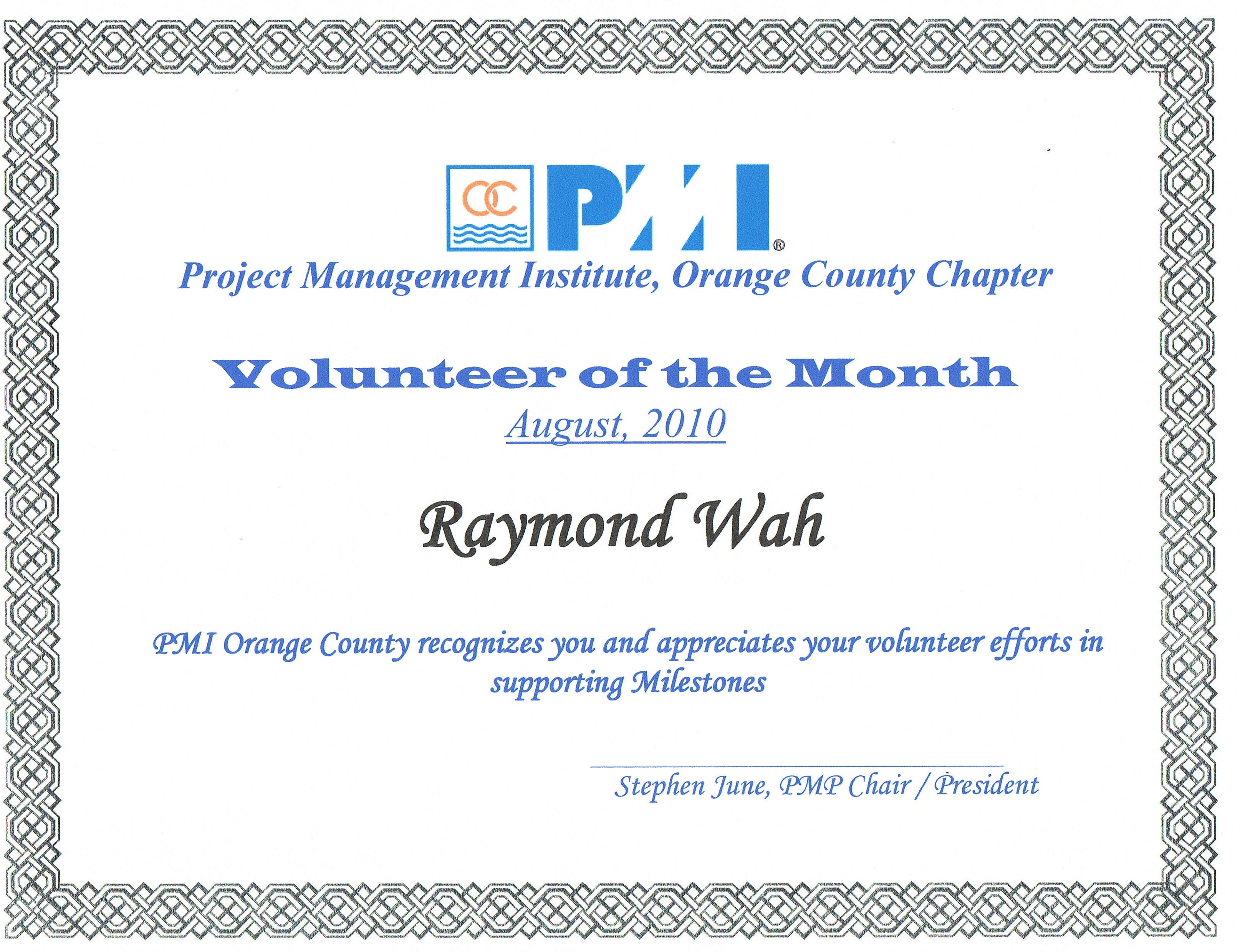 "August 2010: OC ""Volunteer Of The Month"
